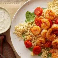 20-Minute Shrimp and Couscous With Yogurt-Hummus Sauce Recipe