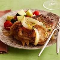 Apple and Onion-Stuffed Pork Chops with Orange-Pineapple Gravy Recipe