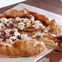 Apple Galette with Goat Cheese, Sour Cherry, and Almond Topping Recipe