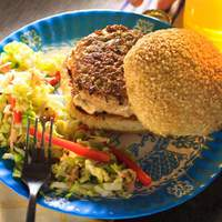Asian Chicken Burger with Spicy Lemongrass Mayo and Pickled Asian Slaw Recipe