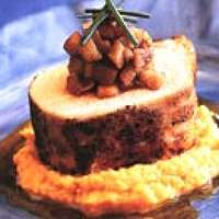 Asian-Marinated Pork Loin with Gingered Sweet Potatoes and Five-Spice Apples Recipe