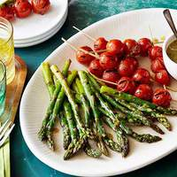 Asparagus and Tomato Skewers with Honey Mustard-Horseradish Sauce Recipe