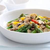 Asparagus, Artichoke, and Mushroom Saute with Tarragon Vinaigrette Recipe