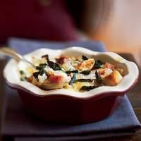 Asparagus, Ham, and Fontina Bread Puddings Recipe