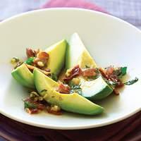 Avocados with Warm Bacon Parsley Vinaigrette Recipe