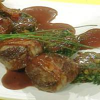 Bacon Wrapped Beef Tenderloin Steaks with Spinach and Cheese Cakes Recipe