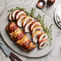 Bacon-Wrapped Turkey Breast Stuffed with Pear Hash Recipe