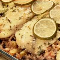 Baked Costa Rican-Style Tilapia with Pineapples, Black Beans and Rice Recipe