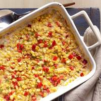 Baked Creamed Corn With Red Bell Peppers and Jalapenos Recipe