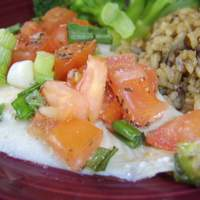 Baked Flounder Fillets With Scallions & Chopped Tomato Recipe