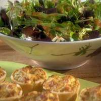 Baked Ricotta Bowls with Chicken and Parmesan and a Mixed Green Salad with Tomato-Basil Vinaigrette Recipe