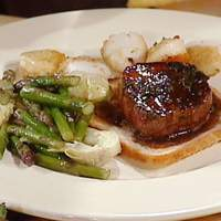 Baked Scallops and Seared Tournedos with Artichoke Hearts and Asparagus Tips Recipe