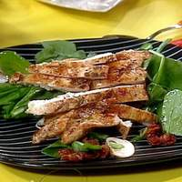 Balsamic Chicken Cutlet over Spinach Salad with Mushrooms, Bacon and Warm Shallot Dressing Recipe