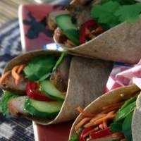 Banh-mi Wrap: Vietnamese Grilled Pork Wrap with Pickled Carrots and Mint Recipe
