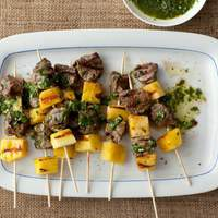 Beef Pops with Pineapple and Parsley Sauce Recipe