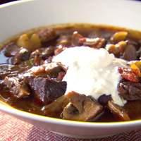 Beef Stew with Red Wine, Mushrooms and Horseradish Cream Recipe