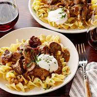 Beef Stroganoff over Buttered Noodles Recipe
