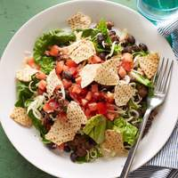 Beef Taco Salad with Chunky Tomato Dressing Recipe