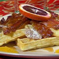 Belgian-Style Waffles with Black Pepper Candied Bacon, Pecan Butter and Cane Syrup Recipe