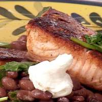 Blackened Salmon with Spinach and Soy Black Beans (Five-minute meal in a pan!) recipe