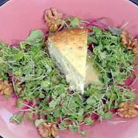 Blue Cheese Cheesecake with Baby Greens, Candied Walnuts and a Pear Vinaigrette Recipe