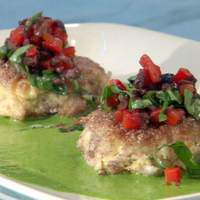 Blue Corn Crab Cakes with Black Olive-Red Pepper Relish and Basil Vinaigrette Recipe