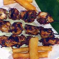 Bob Marley's Reggae: Jerk Marinated Chicken Breast Skewers, Chargrilled and Served with Creamy Cucumber Dipping Sauce and Yucca Fries Recipe