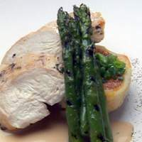 Breast of Chicken on Pumpkin/Cranberry Rissole with White Chocolate Balsamic Sauce and Asparagus Recipe
