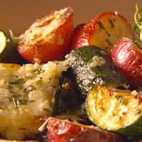 Broiled Zucchini and Potatoes with Parmesan Crust Recipe