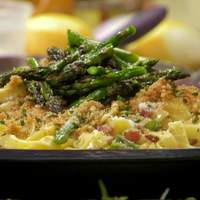 Carbonara-Style Tagliatelle with Grilled Asparagus and Lemon-Herb Breadcrumbs Recipe