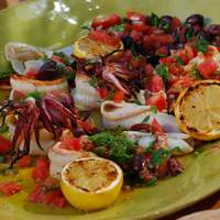 Charcoal Grilled Shrimp and Calamari with Grilled Lemons and Smoked Tomato-Black Olive Relish Recipe