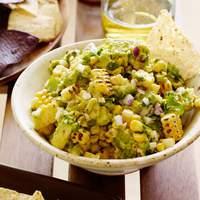 Charred Corn Guacamole with Corn Chips Recipe