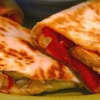 Chicken and Mixed Vegetable Quesadillas with Artichokes, Mushrooms, and Roasted Red Peppers Recipe