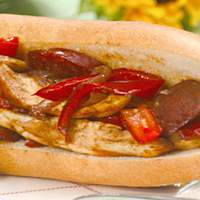 Chicken and Sausage Sandwiches with Sauteed Bell Peppers and German Potato Salad Recipe