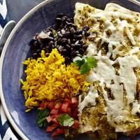 Chicken Enchiladas with Roasted Tomatillo Chile Salsa Recipe