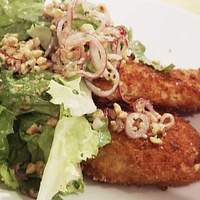 Chicken Milanese with Escarole Salad and Pickled Red Onions Recipe