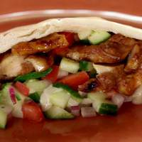 Chicken Shawarma with Tomato Cucumber Relish and Tahini Sauce Recipe