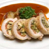 Chicken Stuffed with Smoked Mozzarella, Roasted Tomatoes and Broccoli Rabe over Potatoes with Marsala Sauce Recipe