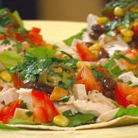 Chicken Tostada with Corn, Pickled Jalapenos and Black Beans Recipe