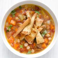 Chickpea Soup with Spiced Pita Chips Recipe