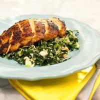 Chile-Rubbed Chicken Breast with Kale, Quinoa and Brussels Sprouts Salad Recipe