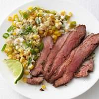 Chile-Rubbed Steak with Creamed Corn Recipe