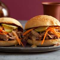 Chinese BBQ Pulled Pork Sliders with Pickled Cukes and Carrots and Sweet-and-Hot Mustard Sauce Recipe