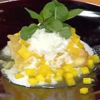 Coconut-Orange Syrup Cake with Stewed Mangoes Recipe