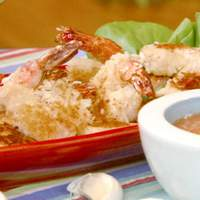 Coconut Shrimp with Curried Tomato, Lime and Roasted Garlic Coulis Recipe