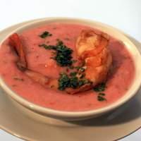 Coconut-Tomato Gazpacho with Coriander - Mint Pickled Shrimp Recipe