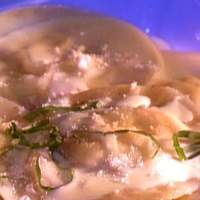 Corn Star Raviolis in Sweet Basil Cream Sauce Recipe