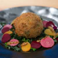 Crab Cake with a Soft-Boiled Egg Inside Recipe