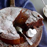 Cracked Chocolate Earth with Whipped Cream (Flourless Chocolate Cake) Recipe