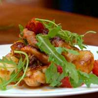 Crispy and Sticky Chicken Thighs with Squashed New Potatoes and Tomatoes Recipe